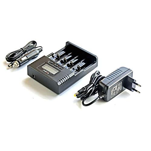 FENG - Cargador de batería universal 18650 con adaptador de coche, cargador inteligente para pilas recargables Ni-MH Ni-Cd AA AAA AAAA, Li-Ion 26650 22650 18350 18650 16340 14500 10440, Negro 20.0W
