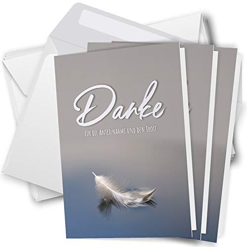 Trauer Danksagungskarten mit Umschlag   Motiv: Feder im Wasser, 10 Stück   Dankeskarten DIN A6 Set   Klappkarten-Trauerkarten Danksagung Danke sagen