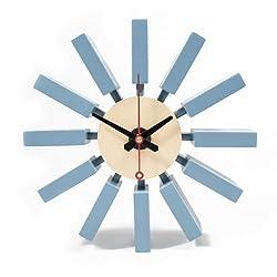 Mid Century George Danish Nelson Style Block Atomic Wall Clock Blue New US