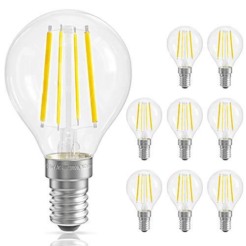 QNINE LED Filament E14, 8 Stück, ersetzt 25W-40W Glühbirne E14 Warmweiß, 4W Vintage Birnen, 2700K, 400LM, 220-240V, Klarglas, nicht Dimmbar, 45mm in Tropfenform