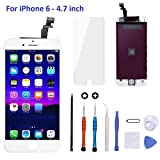 Goldwangwang iPhone 6 Screen Replacement White,4.7inch LCD Touch Screen Digitizer Replacement Fully Frame Display Assembly Set with Repair Tool kit + Tempered Glass Screen Protector + Instruction