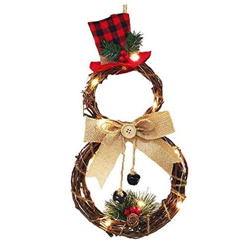 LAANCOO Corona de la decoración de Navidad Colgando de Navidad con Luces LED de la batería operada Guirnalda de Fiesta al...