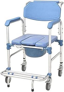 Silla WC Con Inodoro Silla de inodoro con ducha de ruedas, silla de baño de 4 en 1 / con silla de inodoro con ruedas / silla de transporte de ducha de silla de ruedas / frenos de 4 ruedas / baños móvi