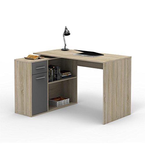 CARO-Möbel Eckschreibtisch Lena Schreibtisch Computertisch in Sonoma Eiche/grau, mit Regal, 120 x 75 x 91,5 cm