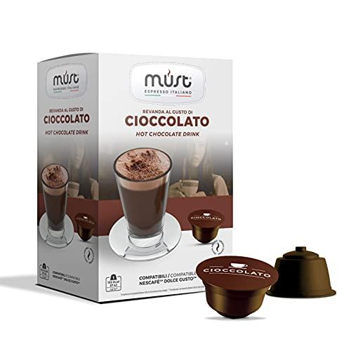 MUST 96 Capsule Cioccolato Solubile Autoprotette in Plastica 100% Riciclabile, miscela CIOCCOLATO pack da 16 Capsule per 6 confezioni compatibili con macchina / macchinetta Dolce Gusto Made in Italy