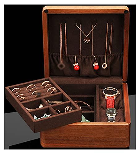 XIRENZHANG Joyero vintage de madera para pendientes, anillos, collares, pulseras, organizador de almacenamiento, color marrón