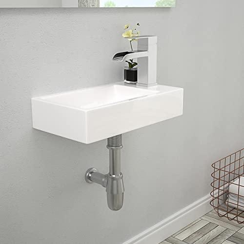 Lordear Rectangle Wall Mount Bathroom Sink with Single Faucet Hole White Porcelain Ceramic Narrow Bathroom Vessel Sink