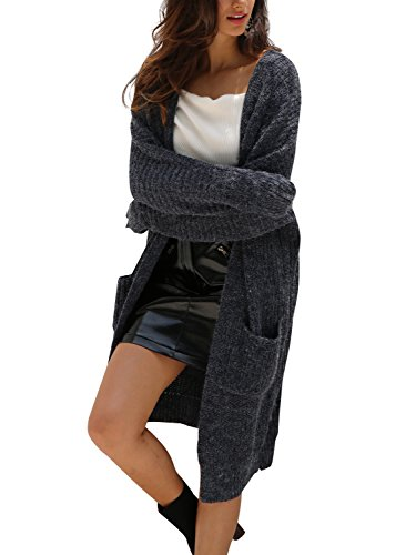 Simplee Women's Casual Open Front Long Sleeve Knit Cardigan Sweater Coat with Pockets,Navy Blue,One Size
