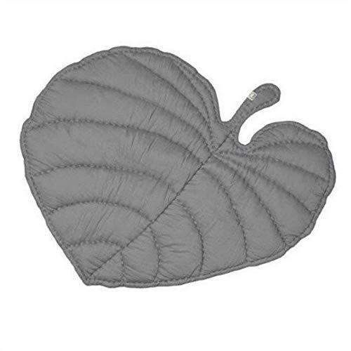 Hydz Forma Creativa de Hoja de algodón Manta para bebés Alfombra de Juego Alfombra de Gateo para niños Decoración para el hogar de los niños Ropa de Cama para bebés Manta de Cochecito, Gris Oscuro