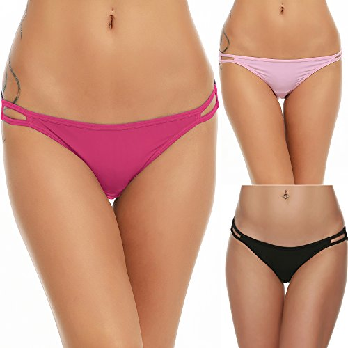 Ekouaer Bikini Panty Womens Seem Free String Microfiber Briefs 3 Pack Assorted...