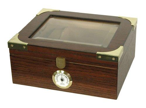 Quality Importers Trading Desktop Humidor, Capri Elegant, Tempered Glasstop, Spanish Cedar Divider, Brass Ring Glass Hygrometer, Holds 25 to 50 Cigars