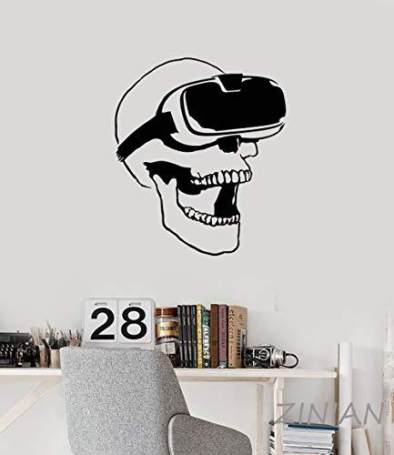 Lustig überrascht Schädel VR Headset Virtual Reality Gamer Videospiele Vinyl Wandaufkleber Aufkleber Kunst Wandbild Tapete Junge Schlafzimmer Mann Höhle Hauptdekoration