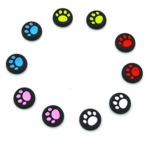 yueton 5 Pairs Replacement Cat Pad Style Silicone Analog Controller Joystick Thumb Stick Grip Cap Cover for Sony Playstation 4 Controller