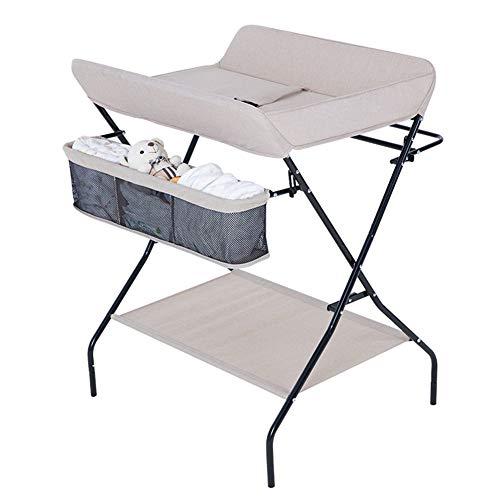Tables à langer Pliante Multifonctionnelle pour Bébé, Station De Commode De Chambre d'enfant De Table De Soins De Massage (Couleur : Champagne)