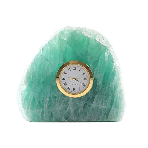 WYZQ Reloj de sobremesa de Piedra de Cristal, Esfera de números Romanos, Movimiento silencioso, Relojes de Chimenea para Sala de Estar, Cocina, Oficina (Verde), Relojes de Escritorio y estantes