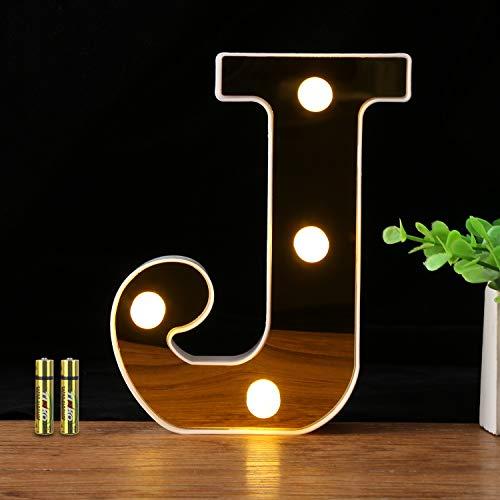 HONPHIER® Letras luces alfabeto lámpara LED carta iluminación letras iluminadas Nachtlichter decoración para cumpleaños Party bodas guarderías (J)
