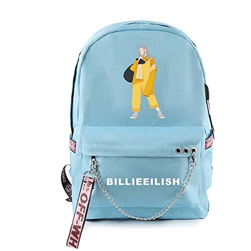 CQW Billie Eilish Bolso de Hombro con Cremallera USB Recargable Bolso de Hombro de Doble cableado Bolso de Viaje al Aire Libre Bolso de Escuela para Estudiantes (36)
