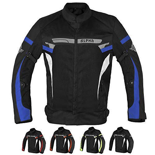 ALPHA CYCLE GEAR BREATHABLE BIKERS RIDING PROTECTION MOTORCYCLE JACKET MESH CE ARMORED (BLUE MOON, X-LARGE)