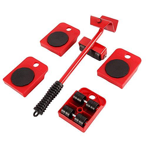 5-teiliges Möbelheber-Set, Schieberegler, robuste Möbelrolle, Werkzeug für schwere Möbel und Geräte, inklusive 1 Hubstange und 4 Möbelbewegungsrollen (rot)