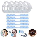 Soporte para Máscara 3D, Soporte para Mascarillas 3D (5 PCS) + Extensores Correa Máscara (5 PCS) Reutilizable y Lavable Soporte de Silicona para Aumentar El Espacio de Respiración