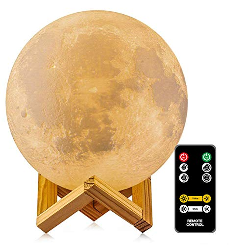 2 Colors Moon Lamp - LOGROTATE Moon Light, Dimmable, Rechargeable Night Light, Timing, Full Set with Wooden Stand, Remote/Touch Control - Magical Decor for Baby, Kid Bedroom, Birthday Gifts( 7.1 inch)