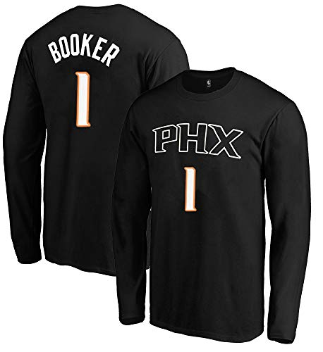 Outerstuff NBA Youth Game Time Team Color Player Name and Number Long Sleeve Jersey T-Shirt (Medium 10/12, Devin Booker Phoenix Suns)