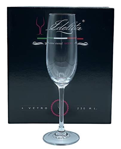 EDELITA copas de champán, 230 ml, Juego de 6 copas especiales para champán o cava, Cristal sin plomo, ideal para momentos...