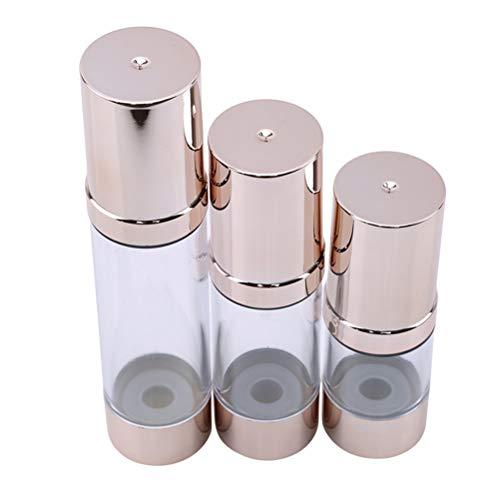 JIFNCR 1 Pieza 15/30/50 ML vacía Botella de plástico vacía sin Aire aspiradora Bomba de Viaje aspiradora Botellas sin Aire Bomba artículos de tocador, plástico, Golden, 50 ML
