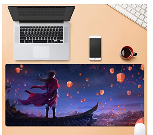 Großes Gaming-Mauspad, Langlebiges Gummi, Hübscher Junge, Der Die Laterne Auf Dem Dach Betrachtet, Laptop-Büro-Gaming-Mauspad