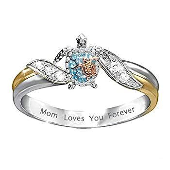 D-XinXin Rings for Women,Turtle Personality Ring Diamond Inlaid Ring Zircon Female Ring Jewelry Gift for Mother Day Women Girls