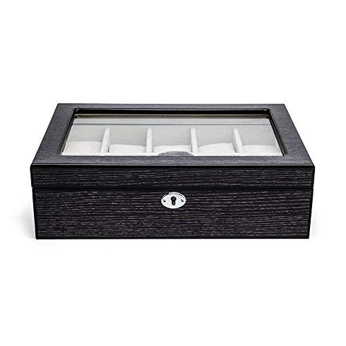 TGDY 10 Gitter Hölzerne Uhrenbox, Schmuck Armband Display Collection Aufbewahrungsbox, Case Piano Lackiertes Holz, Vintage HD Glass