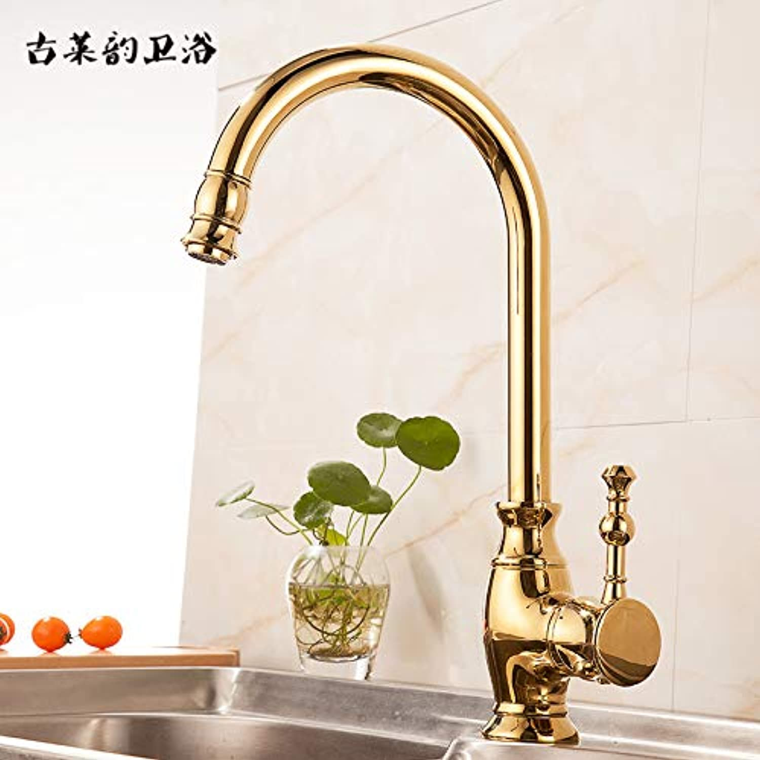 redOOY Faucet Taps Faucet gold Antique Kitchen Sink Faucet Hot And Cold Copper Sink Kitchen Faucet, A