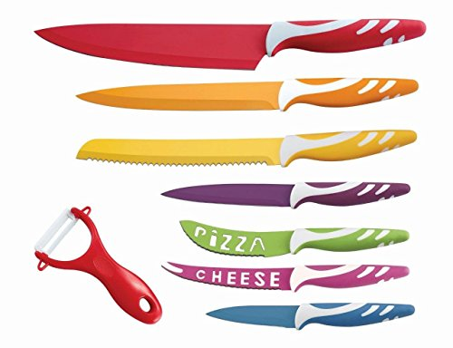 "Lightahead LA-MS04 8 pcs Colorful Stainless Steel Kitchen Knife Set, 14.8""x11.2""x1.5"", Multicolor"