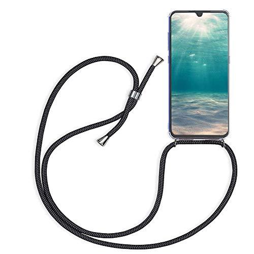 Ptny Case Funda Colgante movil con Cuerda para Colgar Xiaomi Redmi 5 Plus Carcasa Correa Transparente de TPU con Cordon para Llevar en el Cuello con Ajustable Collar Cadena Cordón en Negro