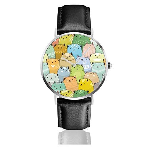 Reloj de Pulsera Sun Moon Durable PU Correa de Cuero Relojes de Negocios de Cuarzo Reloj de Pulsera Informal Unisex