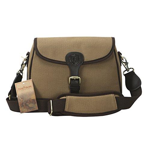 TOURBON Canvas and Leather Cartridge Carrier Shotgun Shell Bag (Grey Khaki)