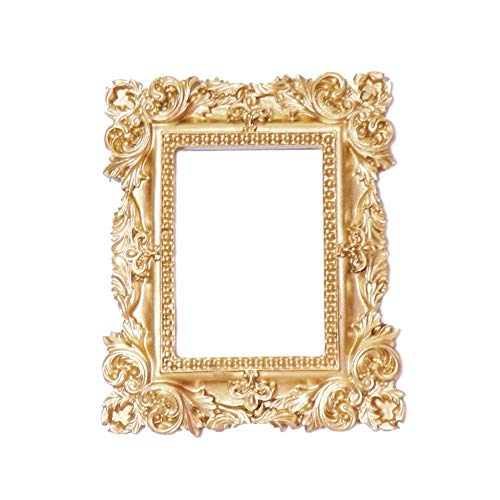YoLiy Photo Frame Vintage Retro Copper Resin Mini Small Photo Frame Jewelry Positioning Frame Earrings Necklace (Color : Gold, Size : 10.5x8.5cm)