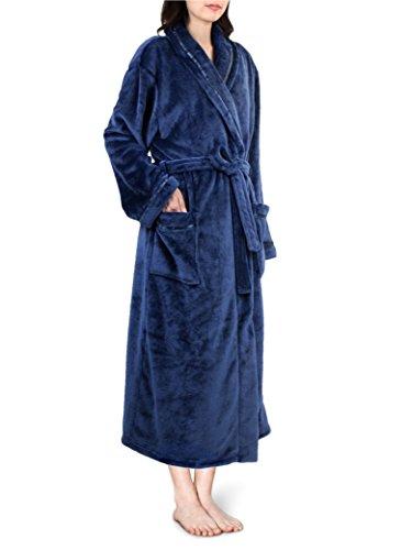 Women Fleece Robe with Satin Trim|Luxurious Soft Plush Bathrobe,Blue,L/XL