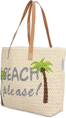 normani Große Strandtasche Badetasche Beachbag für Damen Weekend Bag Farbe Beach Please
