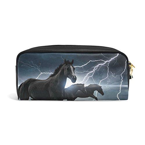 Zzkko animale corsa cavalli in pelle cerniera matita della penna cancelleria borsa trucco cosmetici borsa borsetta
