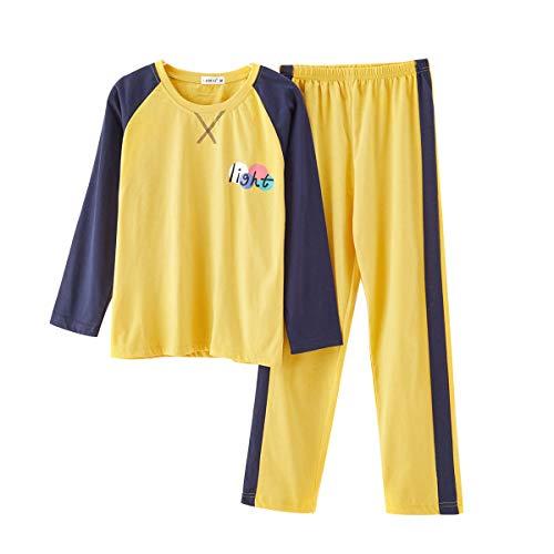 MINTLIMIT Damen Schlafanzug Pyjama Set Lang Zweiteilige Nachtwäsche Sleepwear aus Baumwolle Langarm Lang Hose süßes Muster # 0015_Englisch / Gelb L