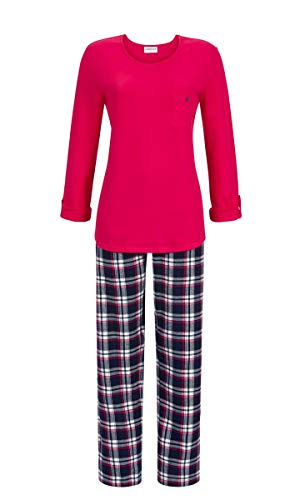 Ringella Damen Pyjama mit Krempelarm Carmin 48 9511204, Carmin, 48