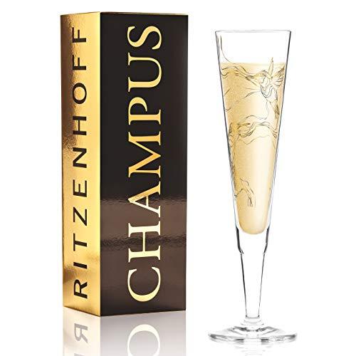 RITZENHOFF Champus 1070278 Copa de champán de Marvin Benzoni (Hummingbirds), de cristal, 205 ml, con noble oro y platino, incluye servilletas de tela, 1070278