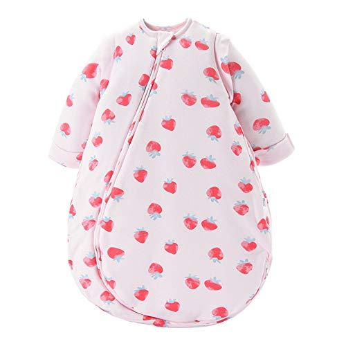 QinWenYan Saco de Dormir para Bebé Saco de Dormir del bebé con Mangas Desmontables Invierno Blando y Grueso cómodo Saco de Dormir para Niños Pequeños (Color : Pink, Size : L)
