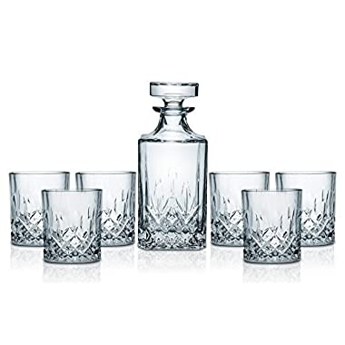 Miko Crystal Decanter Set With 6 Double Old Fashioned Glasses- Lead Free Crystal (Nairn)