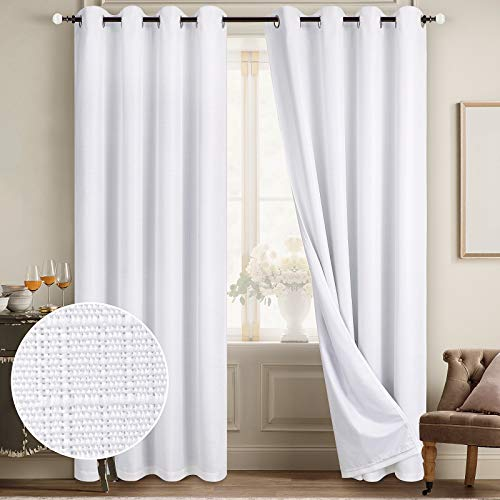 Diraysid 100% Blackout Curtains White Linen Curtains for Bedroom Grommet Thermal Insulated Room Darkening Drapes (2 Panels, W52 x L84 Inch)