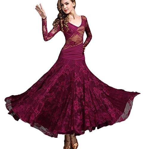 JTSYUXN Walzer Modern Dance Kostüme Große Swingrock Spitze Chiffon-Kleid, National Standard Ballsaal Praxis Langarm Tanzrock (Farbe : Fuchsia, größe : M)