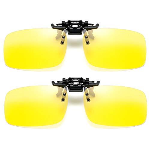 2 pack Sonnenbrille Clip auf Flip Up Night Vision Gläser Blendschutz polarisierte für Männer Frauen UV400 Beste für Driving Golf Schießen Angeln Jagd Outdoor Sports - Rechteck