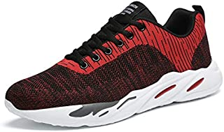 FYXKGLa Men's Shock Absorption Casual Running Shoes Men's Fashion Flying Woven Mesh Sports Shoes (Color : Red, Size : 43EU)