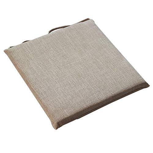 Rainai Tatami - Cojín para Silla de 45 x 45 cm, cojín de Asiento Transpirable, cojín japonés, algodón y Lino, Muy Mullido, cojín de Asiento ventilado, Ideal para Oficina, Interior y Exterior